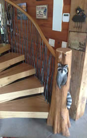 Custom Log Spiral Stairs Raccoon Log Wood Carving