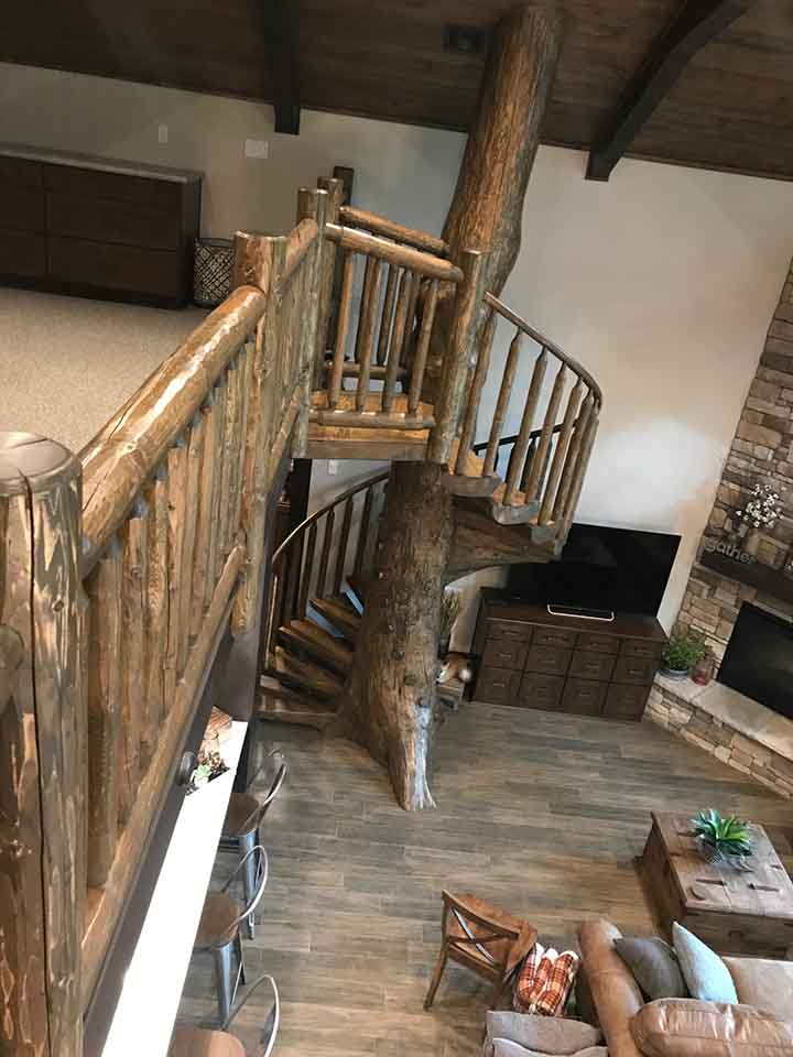 Custom Log Spiral Stairs and Railing Installed